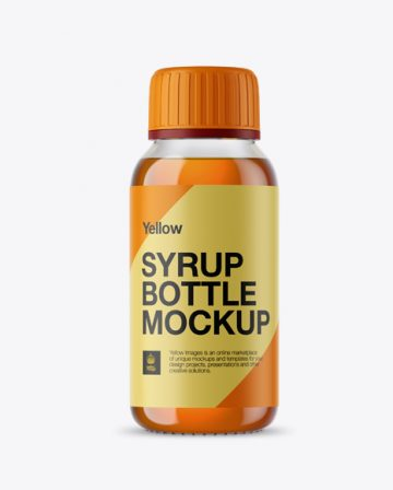 Free Clear Glass Bottle With Orange Syrup Mockup