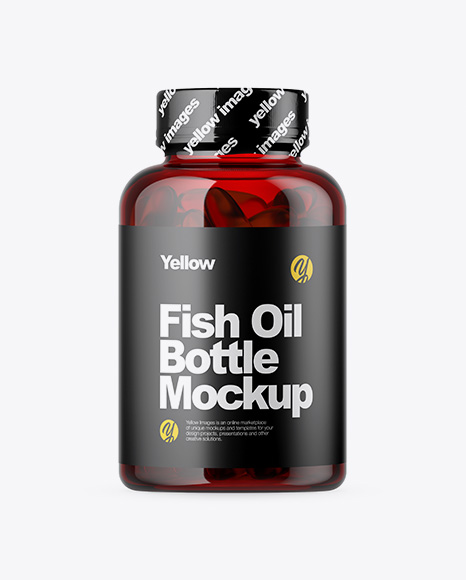 Free Red Bottle with Fish Oil Mockup