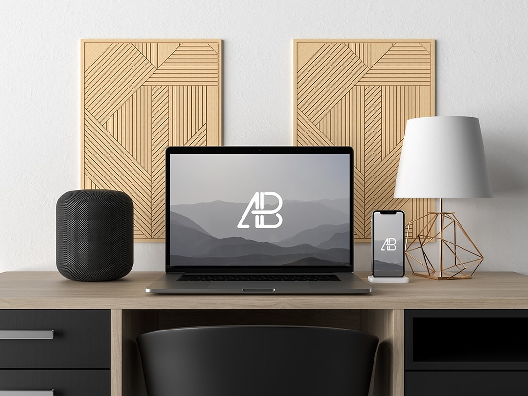 Free Modern Macbook Pro and iPhone X on Desk Mockup