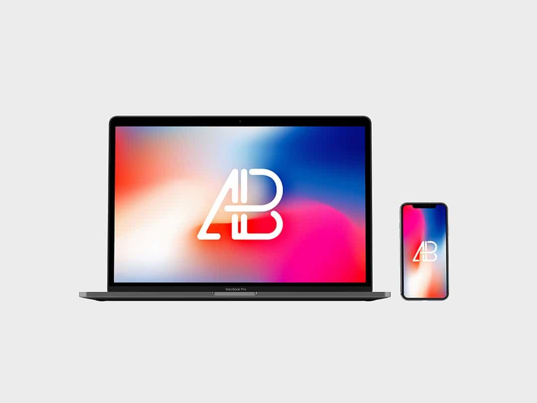 Front View iPhone X and Macbook Pro Free Mockup