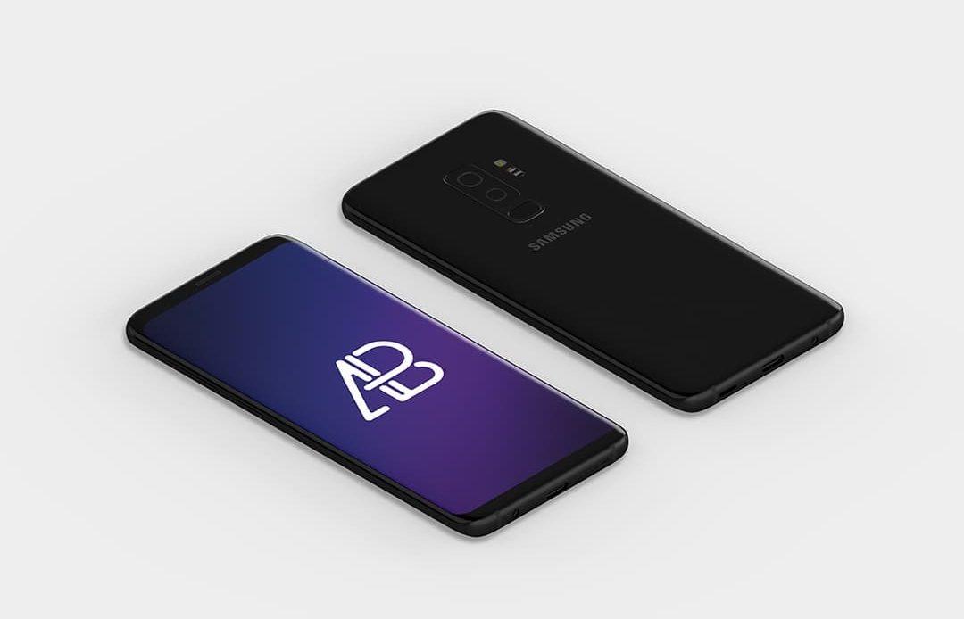 Isometric Samsung Galaxy S9 Plus Free Mockup