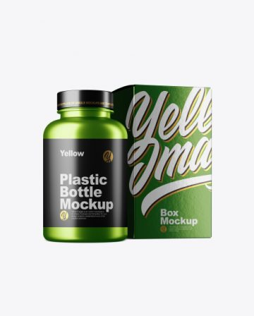 Free Metallc Bottle w/ Metallic Paper Box Mockup