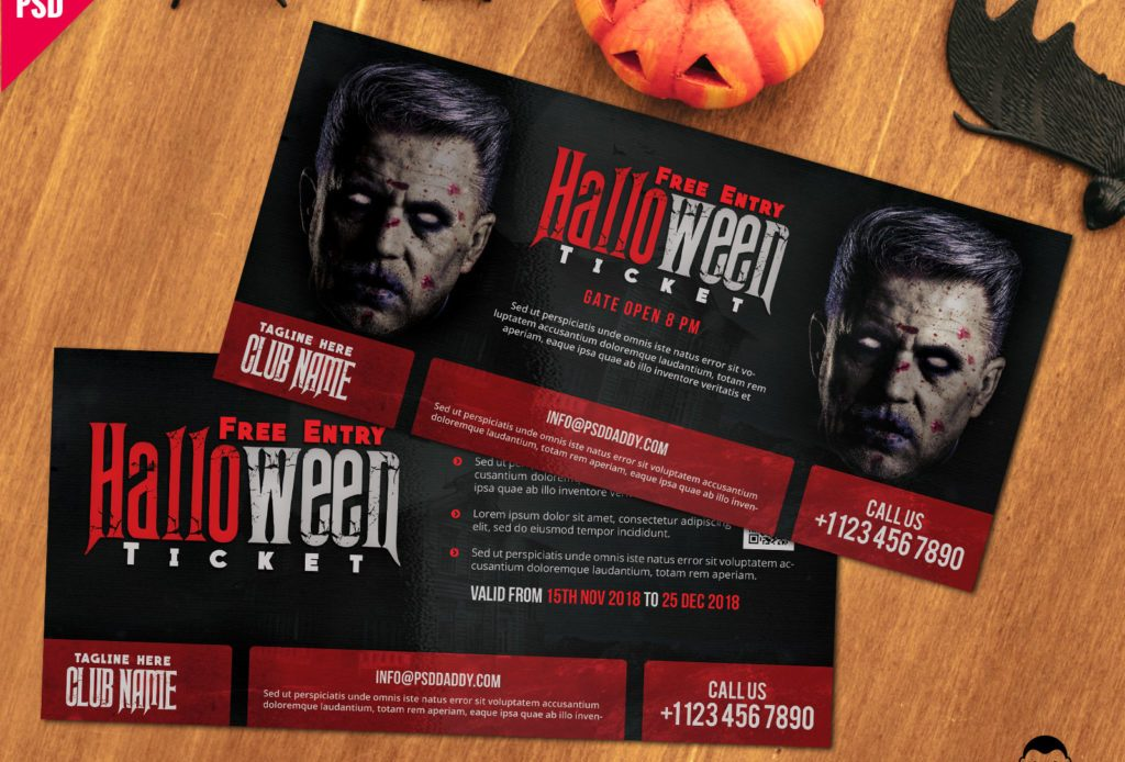 Free Halloween Entry Ticket PSD Template