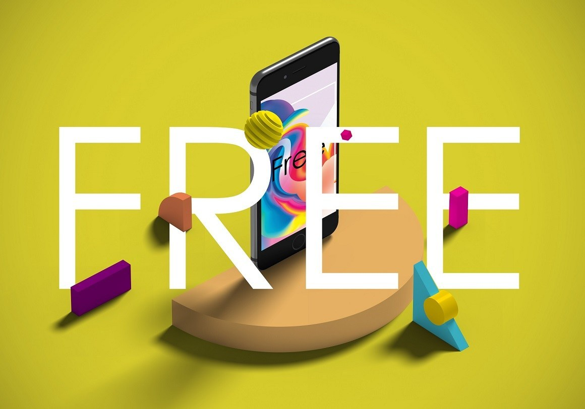 Free iPhone with Shapes Mockup