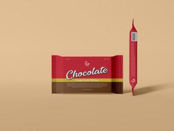Free Chocolate Candy Sachet Mockup