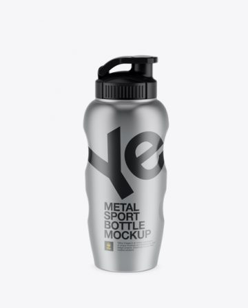 Free Metallic Sport Bottle Mockup