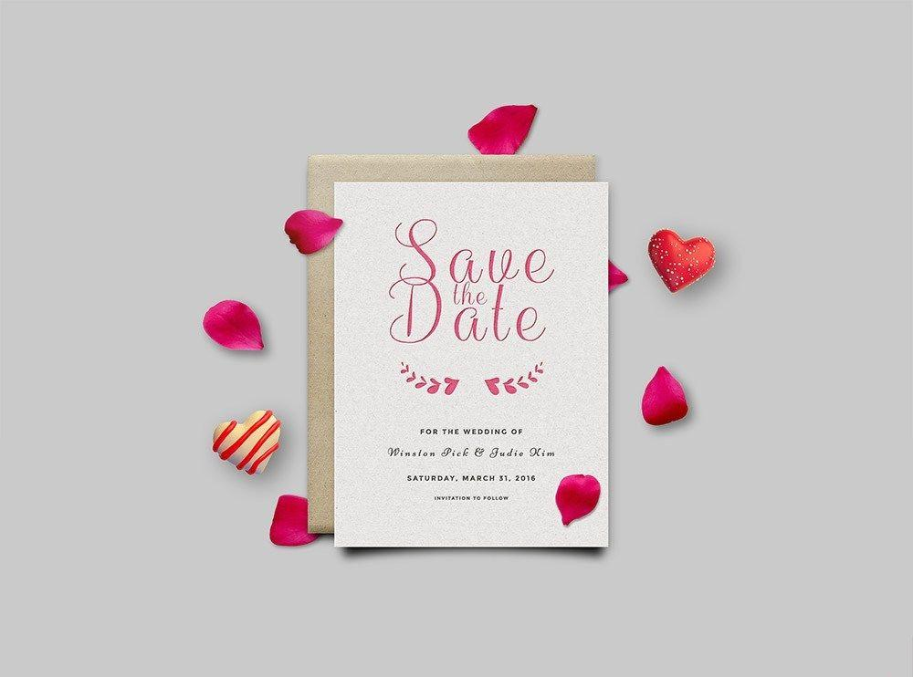 Save The Date Invitation Card Free Mockup