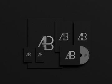 Black Foil Branding Identity - Free Mockup