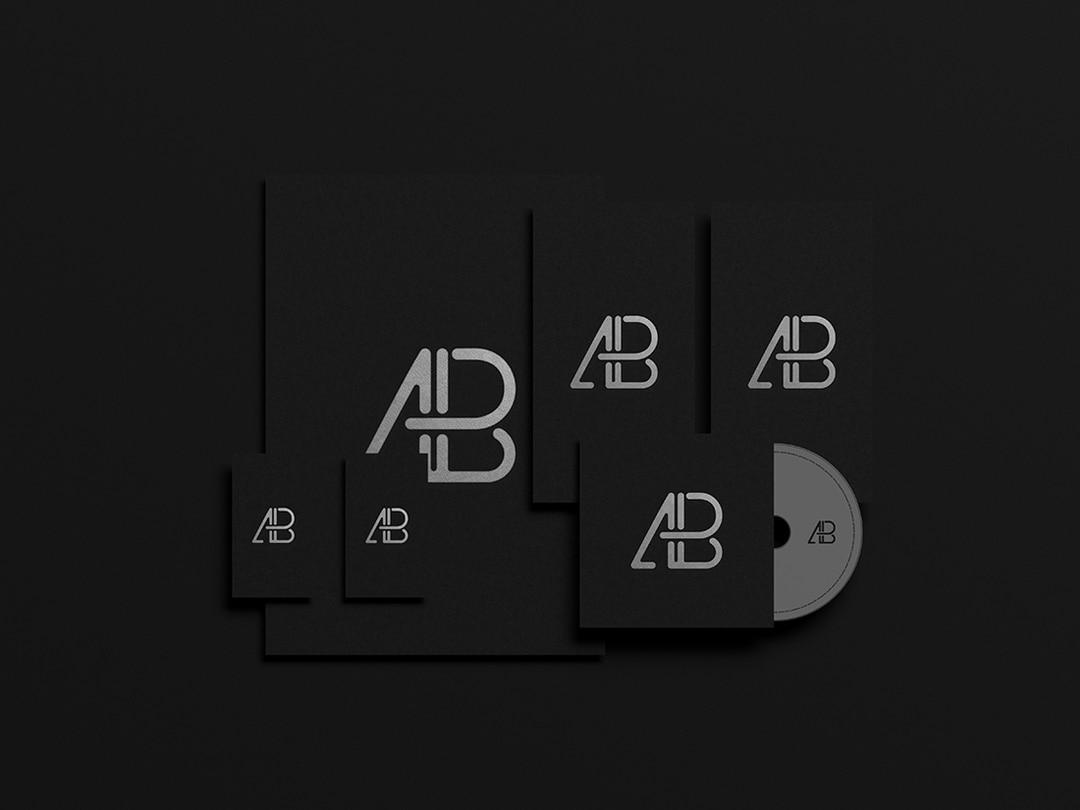 Black Foil Branding Identity Free Mockup