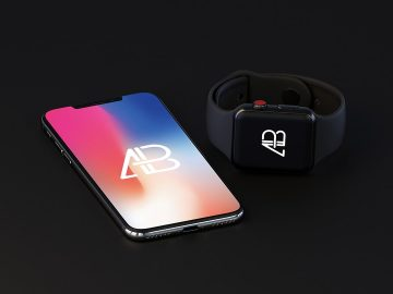 iPhone X and Apple Watch Free Mockup