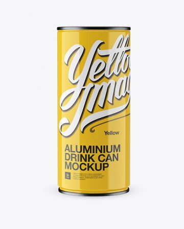 Free 1L Glossy Aluminium Can Mockup