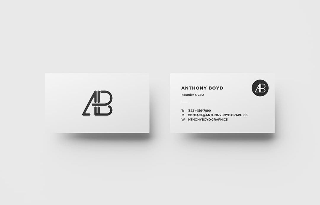 Business Card Top View Free Mockup