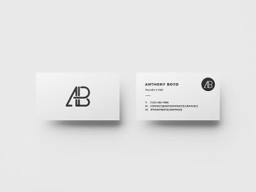Business Card Top View - Free Mockup