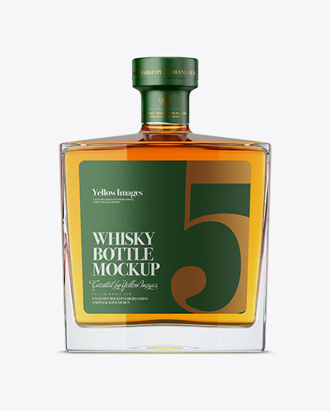 Free Square Glass Bottle W/ Whisky Mockup