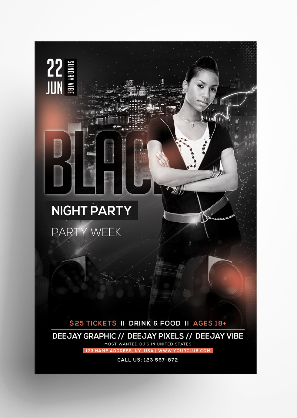 Black Night Party PSD Free Flyer Template