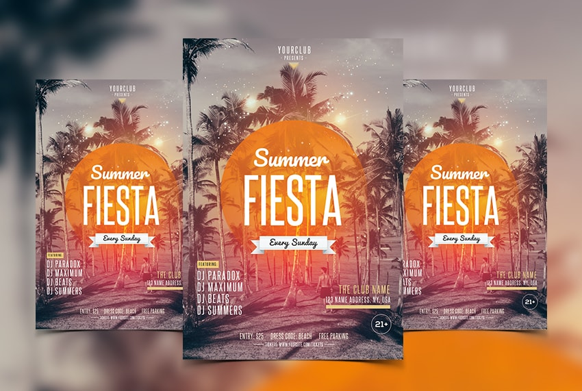 Summer Fiesta Free PSD Flyer Template
