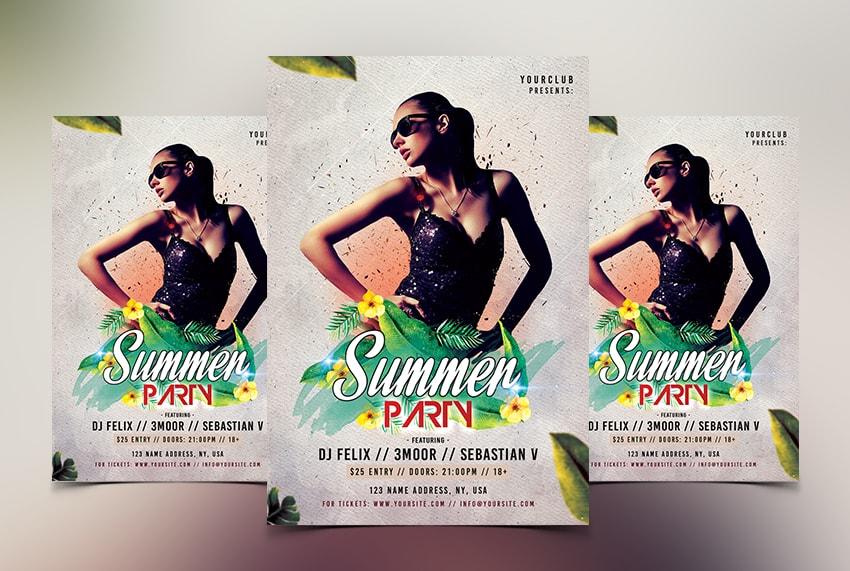Summer Event PSD Free Flyer Template