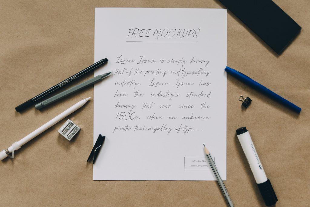 Free US Letter Paper Mockup