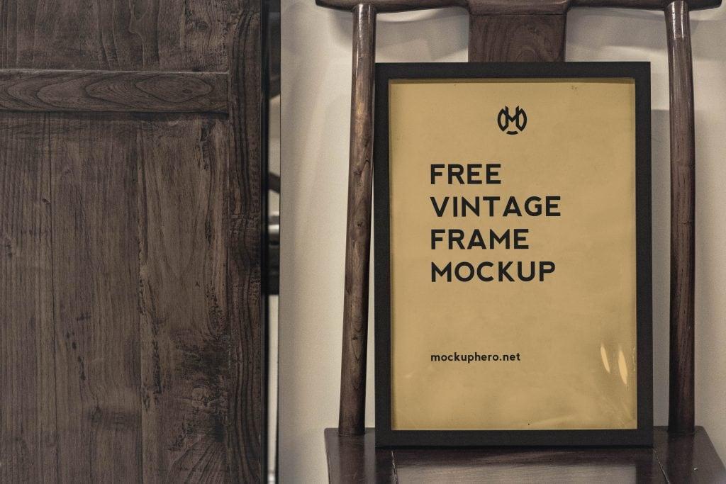 Free Vintage Poster Frame Mockup
