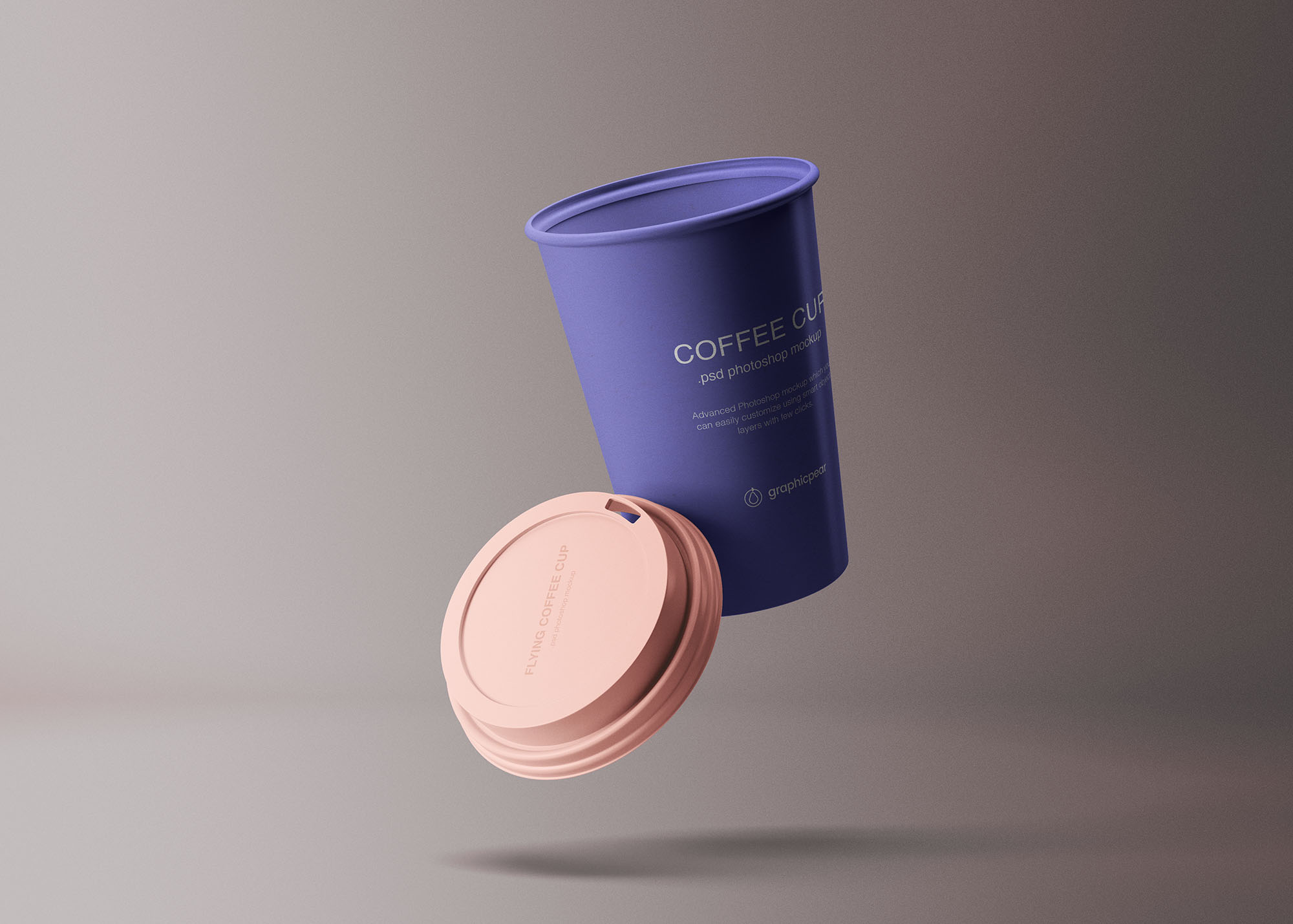 Free Flying Coffee Cup Mockup