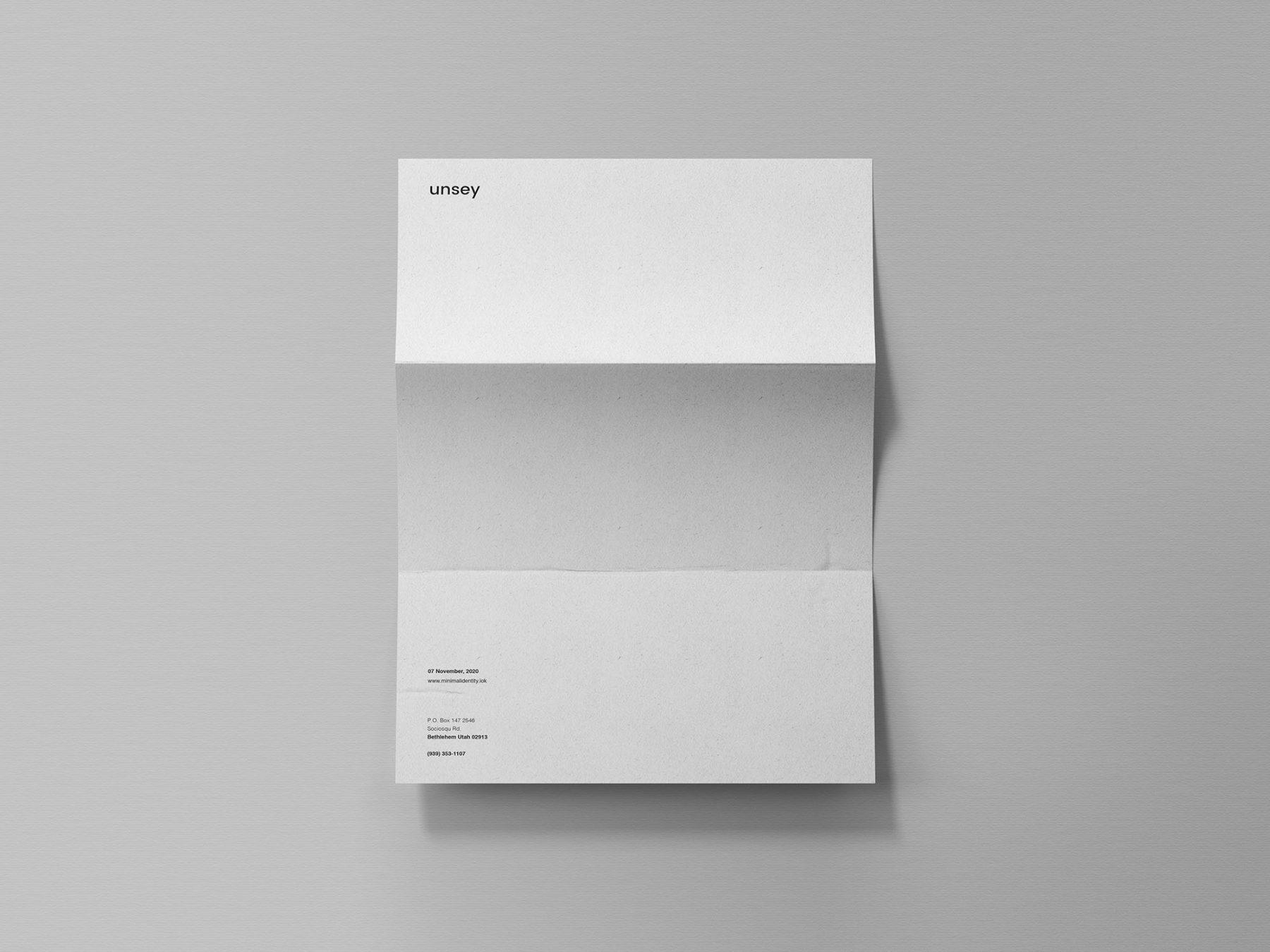 Free Folded Letter Mockup