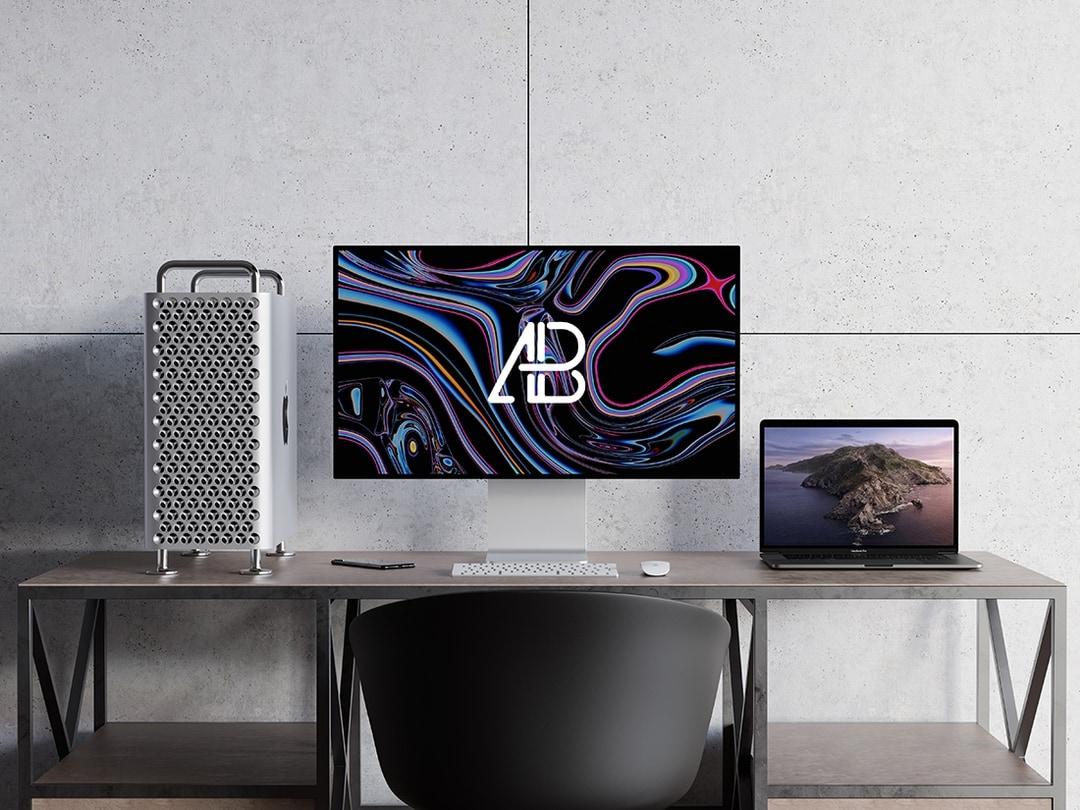Free 2019 Mac Pro and MacBook Pro Mockup