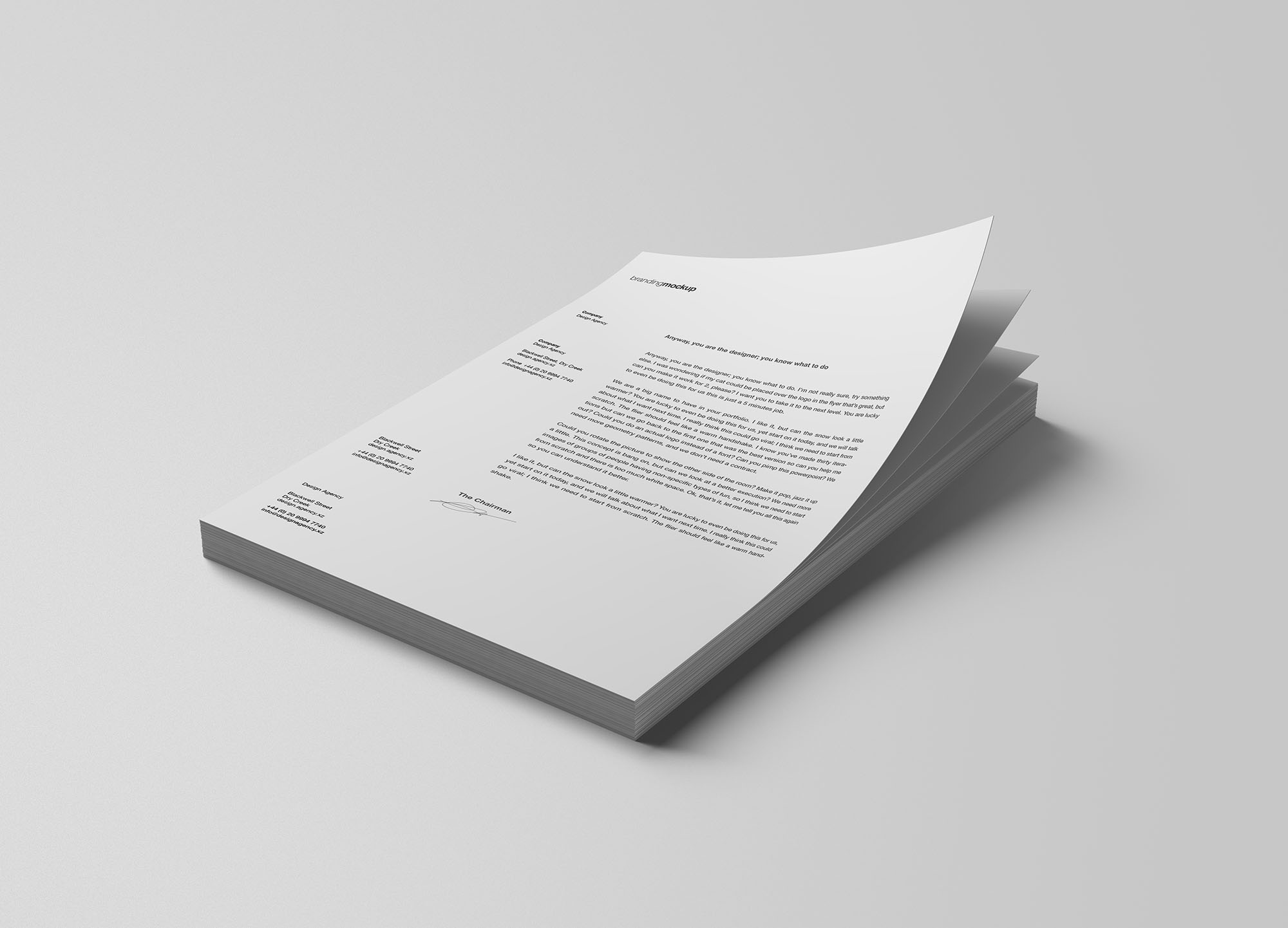 Free Stacked Letterheads Mockup