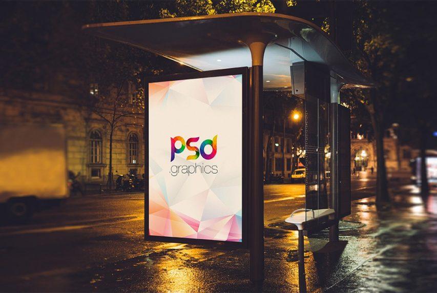 Free Bus Stand Billboard Advertising Mockup