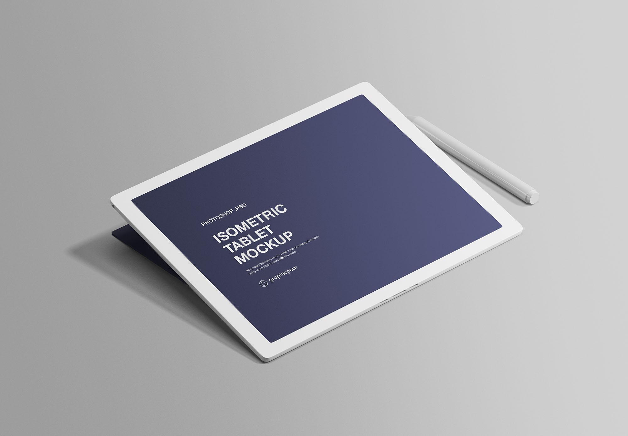 Free Isometric Tablet Mockup
