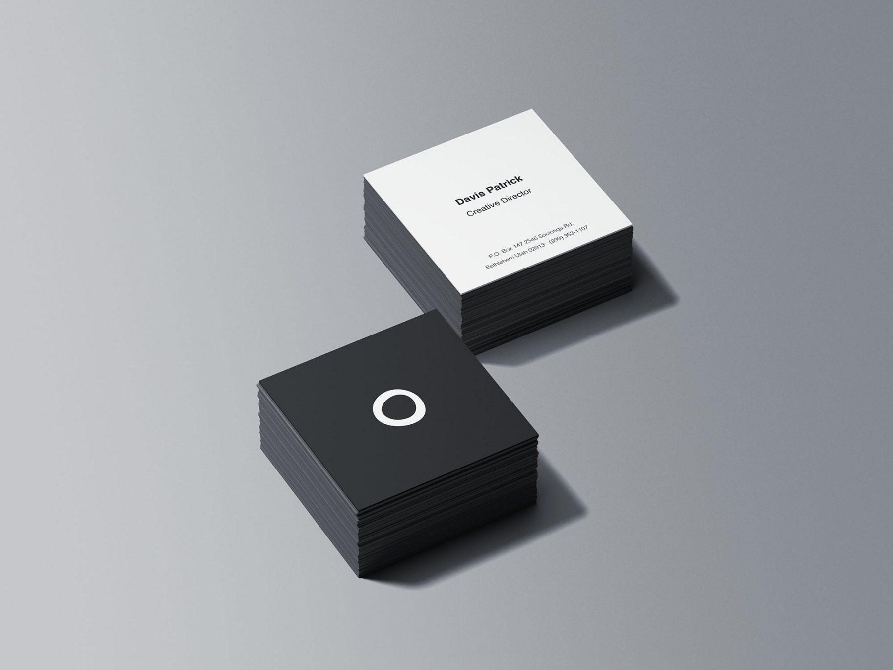 Free Square Business Card Stacks Mockup