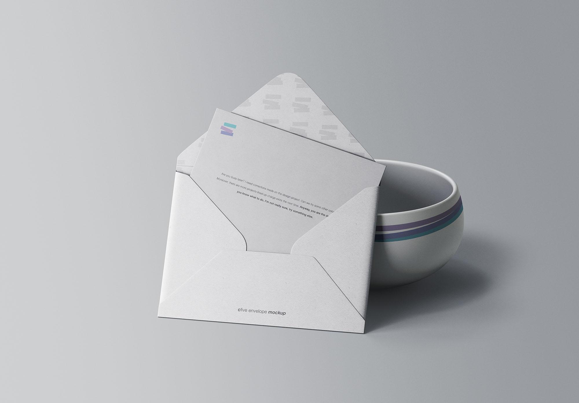 Free Envelope with Bowl Mockup