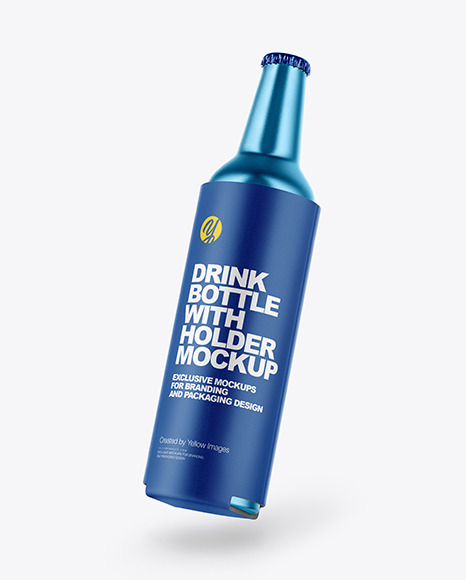 Free Metallic Drink Bottle w/ Holder Mockup
