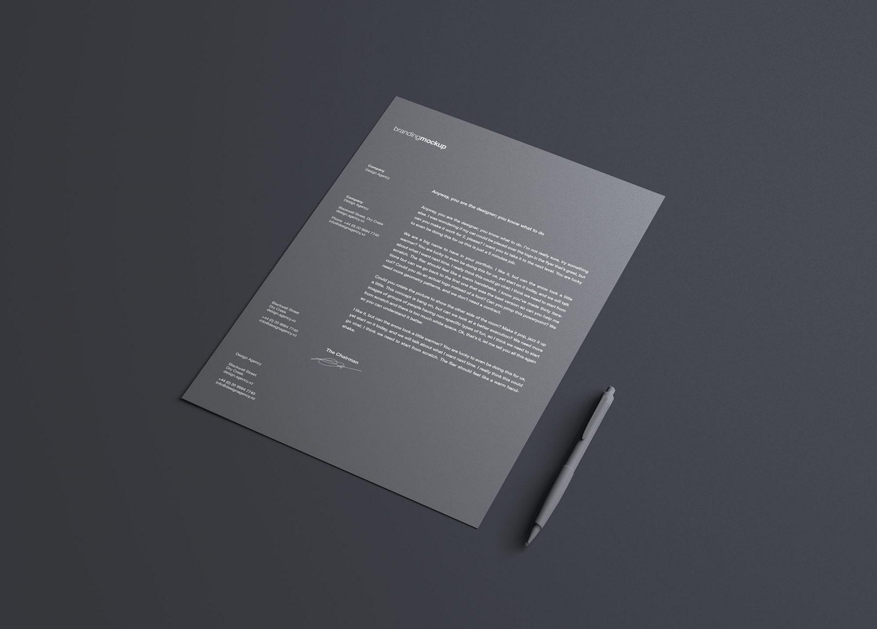 Free Simple Letterhead Mockup