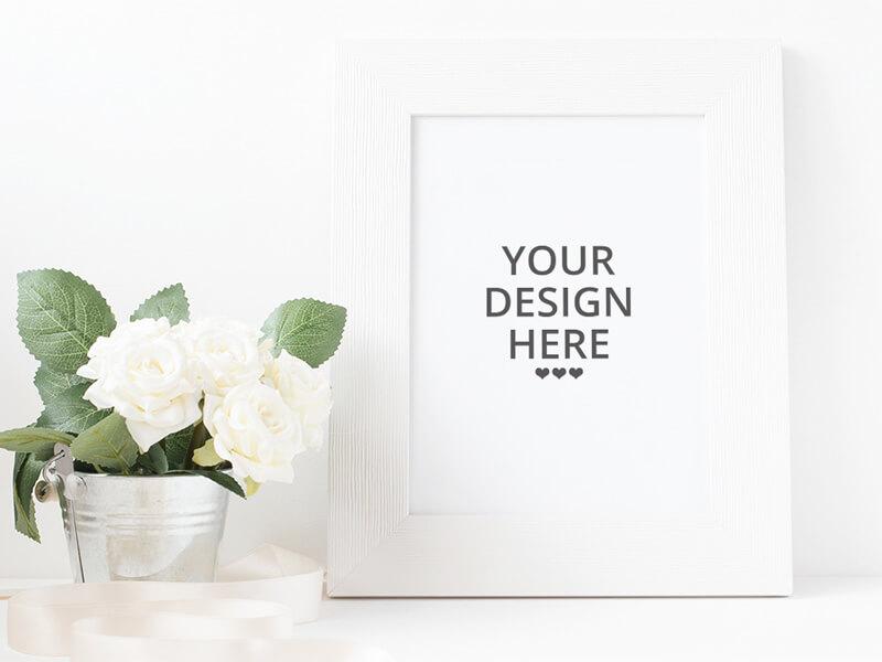 Free Elegant White Frame Mockup