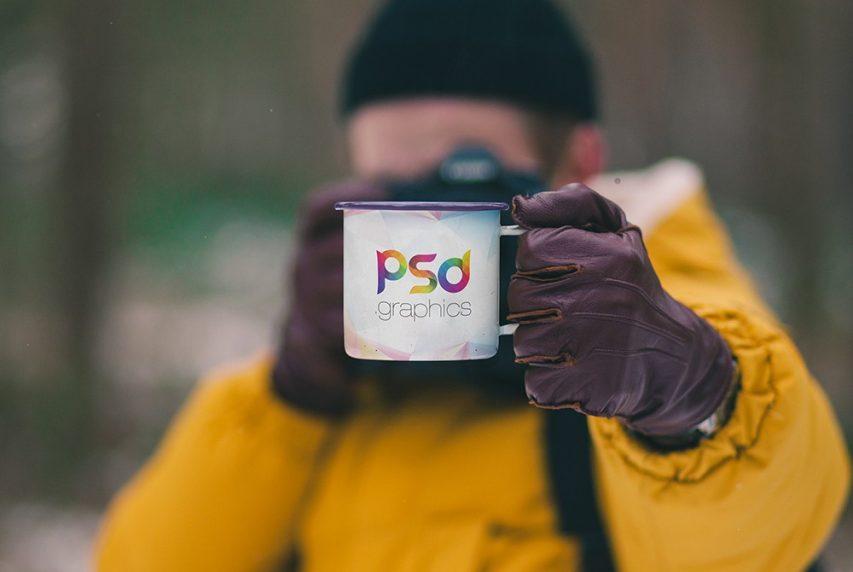 Free Holding Enamel Mug Mockup