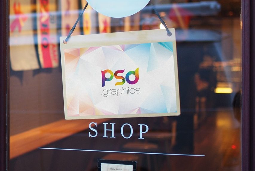 Free Shop Door Sign Mockup