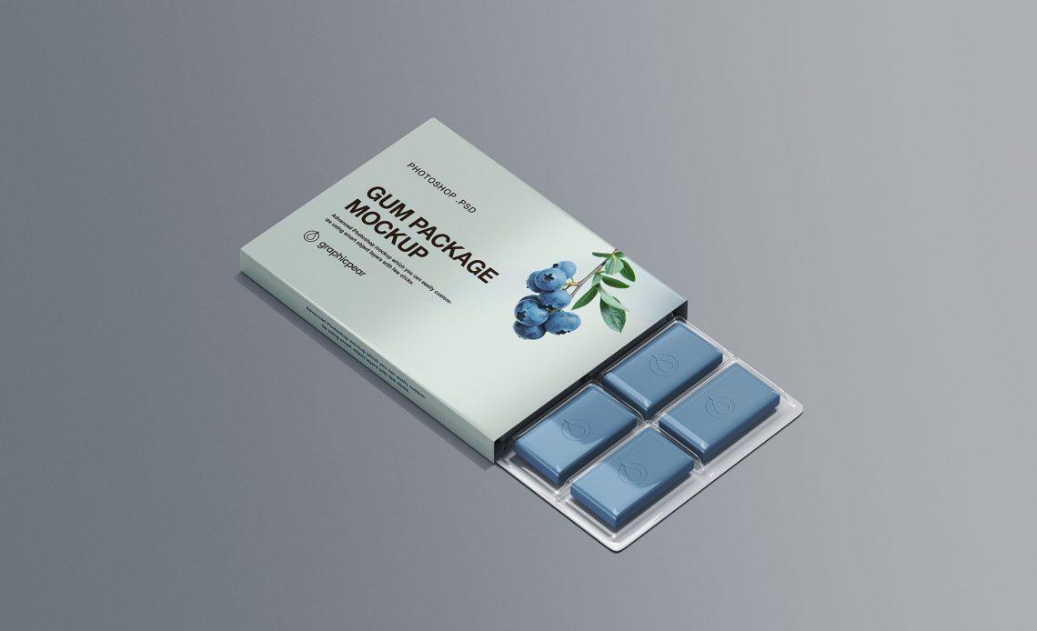 Free Chewing Gum Packaging Mockup