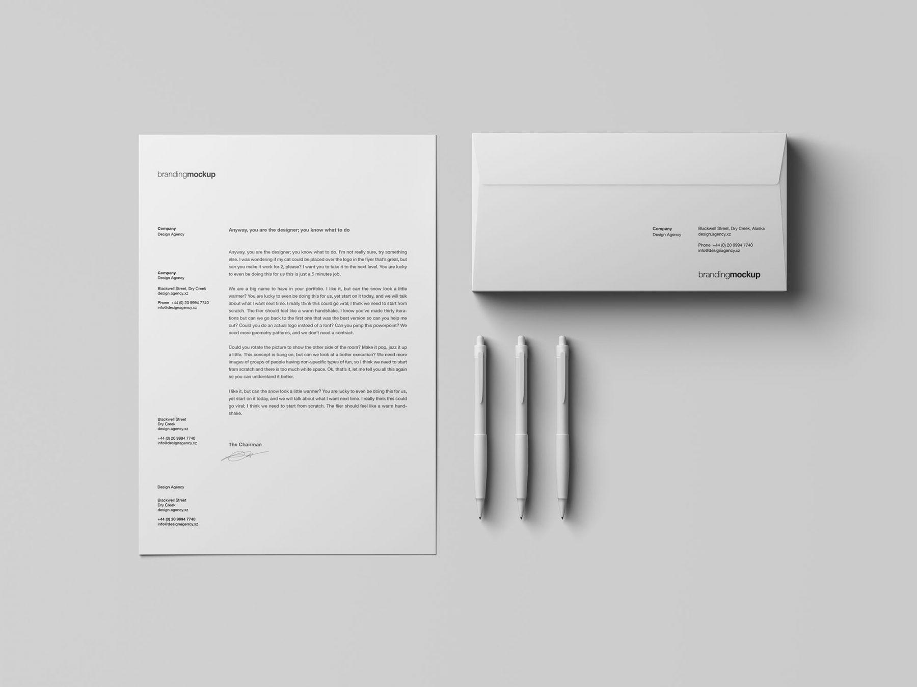 Free Letterhead/Envelope Branding Mockup