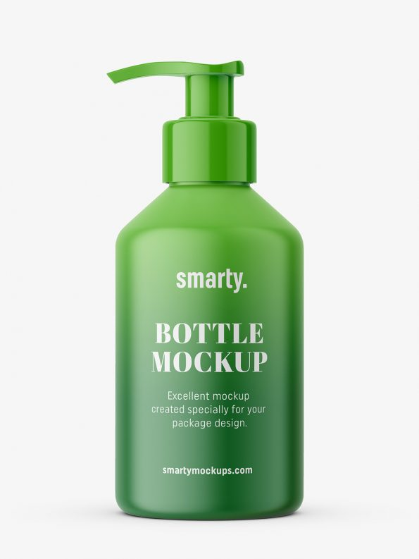 Free Pharmacy Bottle With Pump Mockup