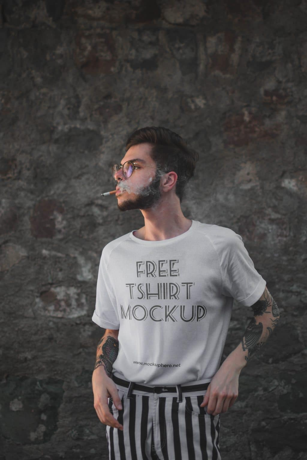 Free White T-shirt For Men Mockup