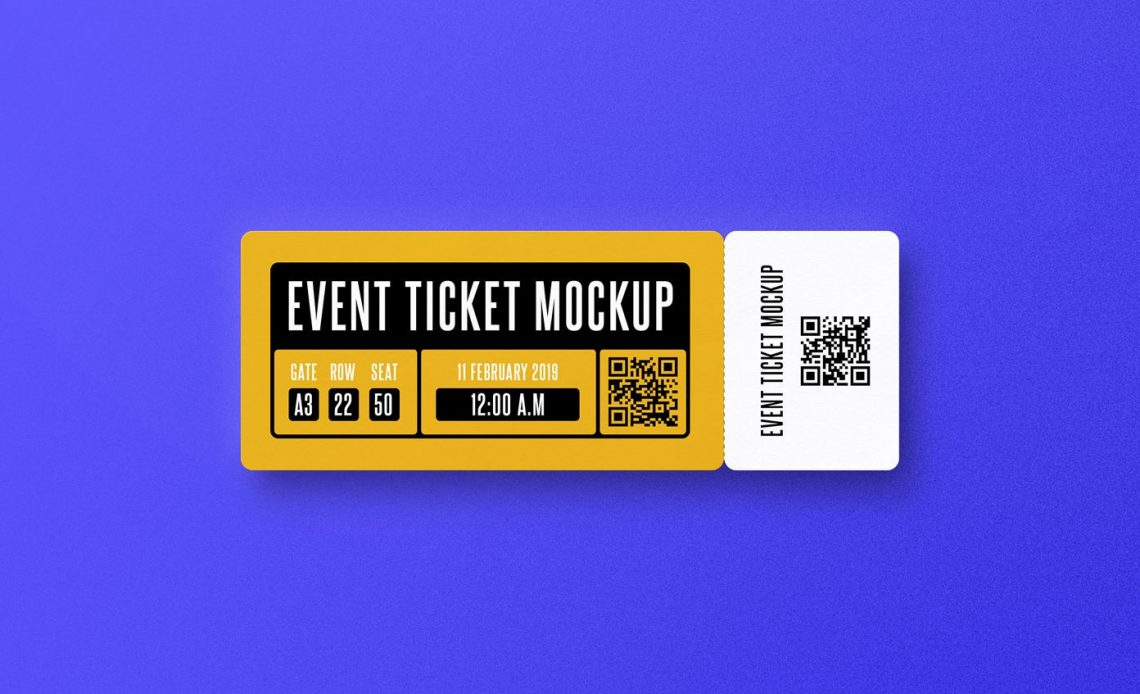 Free Event Ticket PSD Mockup