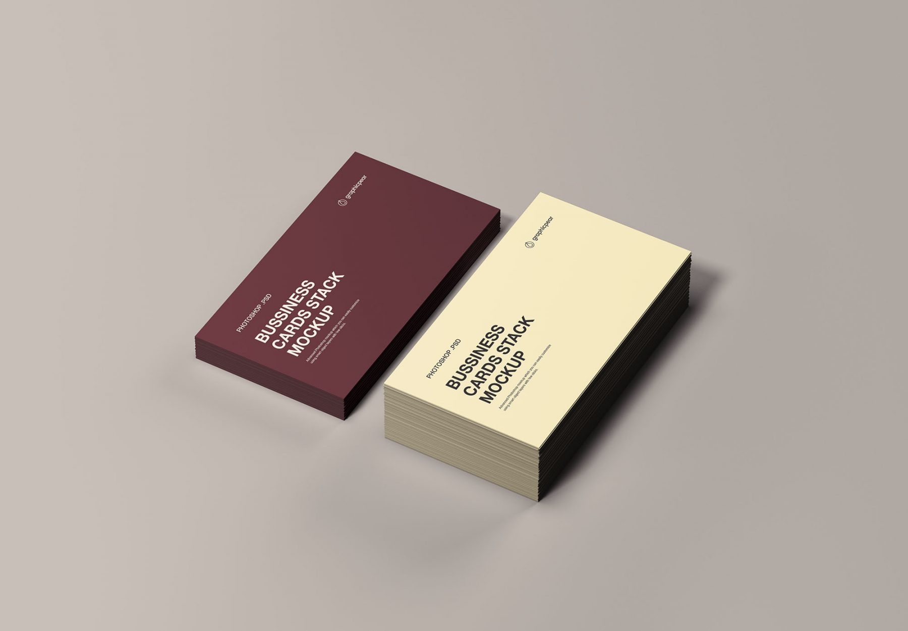 Free Business Cards Stack Mockup
