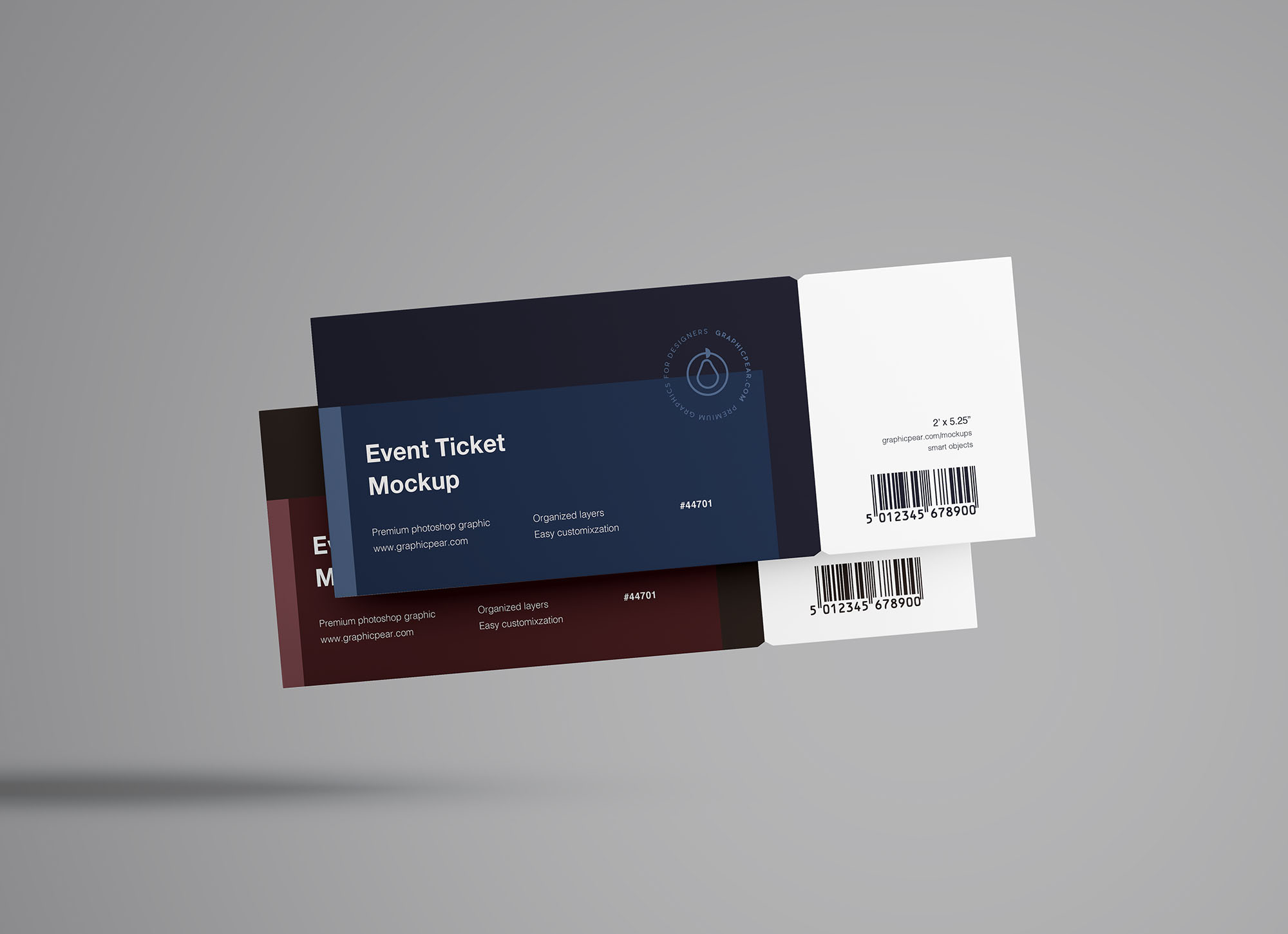 Free Floating Tickets Mockup