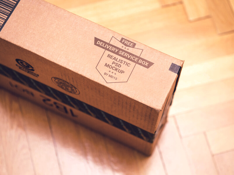 Free Delivery Service Box Mockup