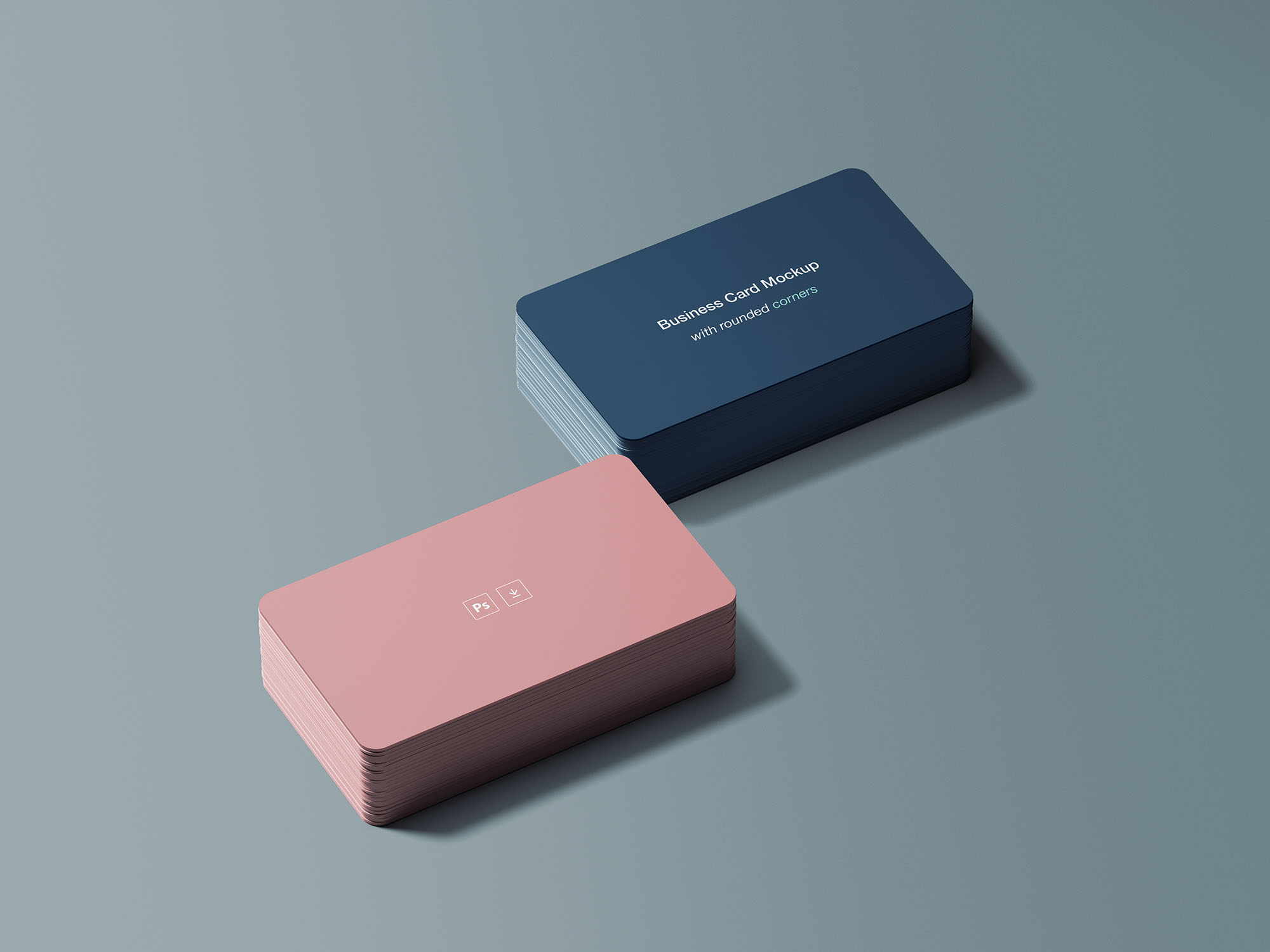 Free Business Card Mockup with Rounded Corners
