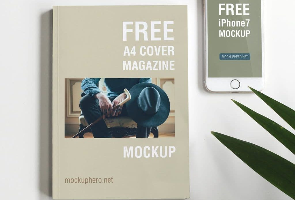 Free A4 Magazine Cover and iPhone 7 Mockup
