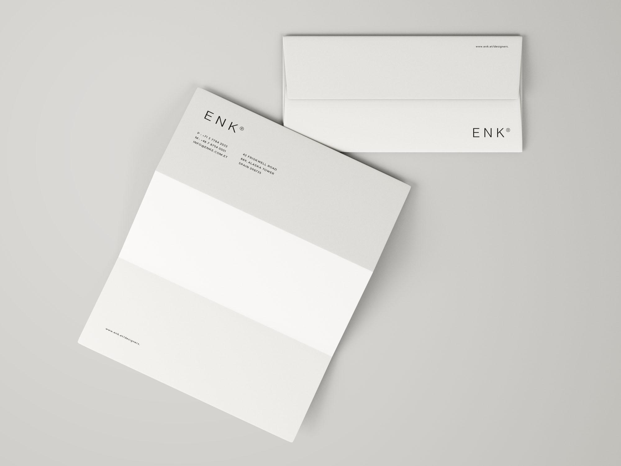 Free Envelope and A4 Folded Letterhead Mockup