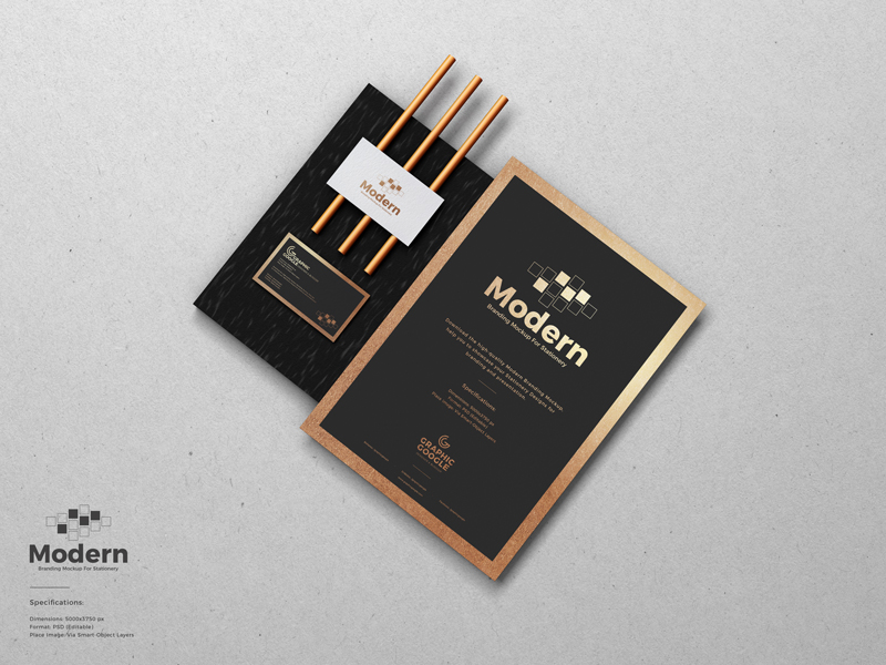 Free Modern Branding Mockup For Stationery