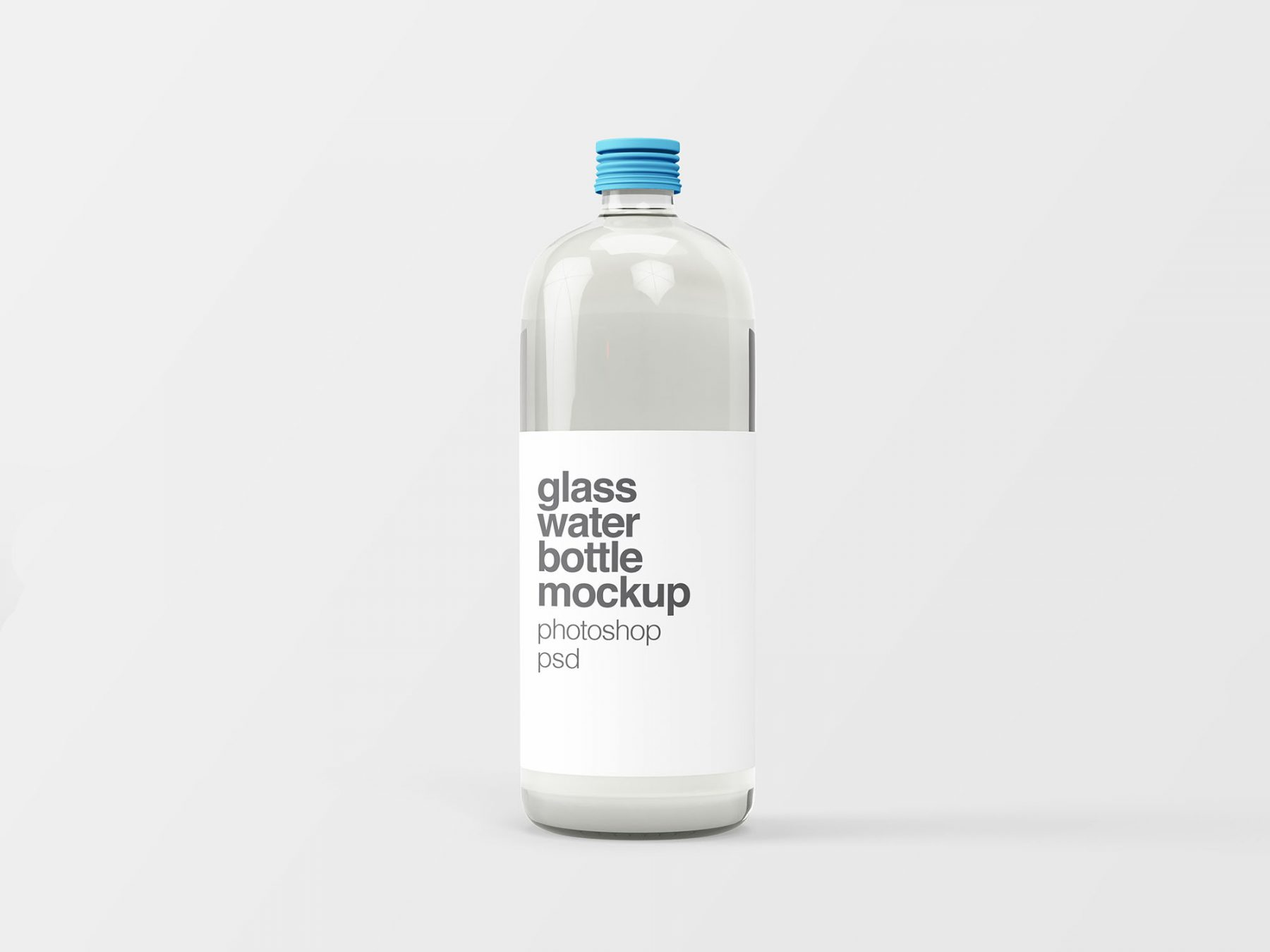 Free Glass Water Bottle Mockup
