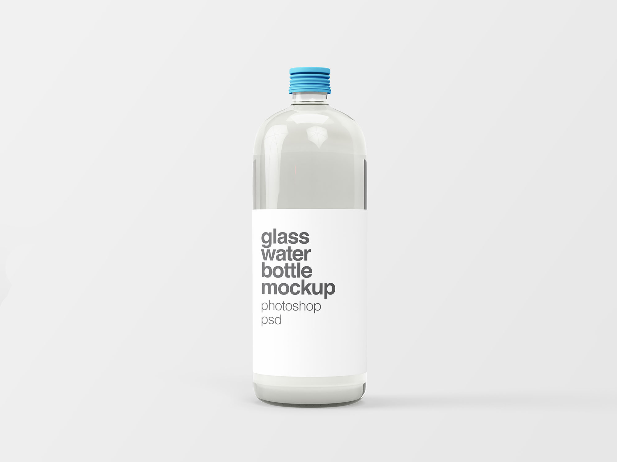Free Glass Water Bottle Mockup